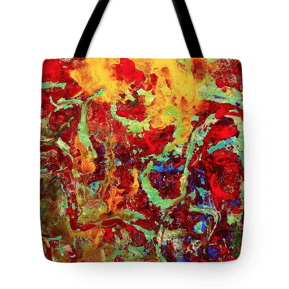 Abstract Tote Bag featuring the painting Walking In The Garden by Natalie Holland