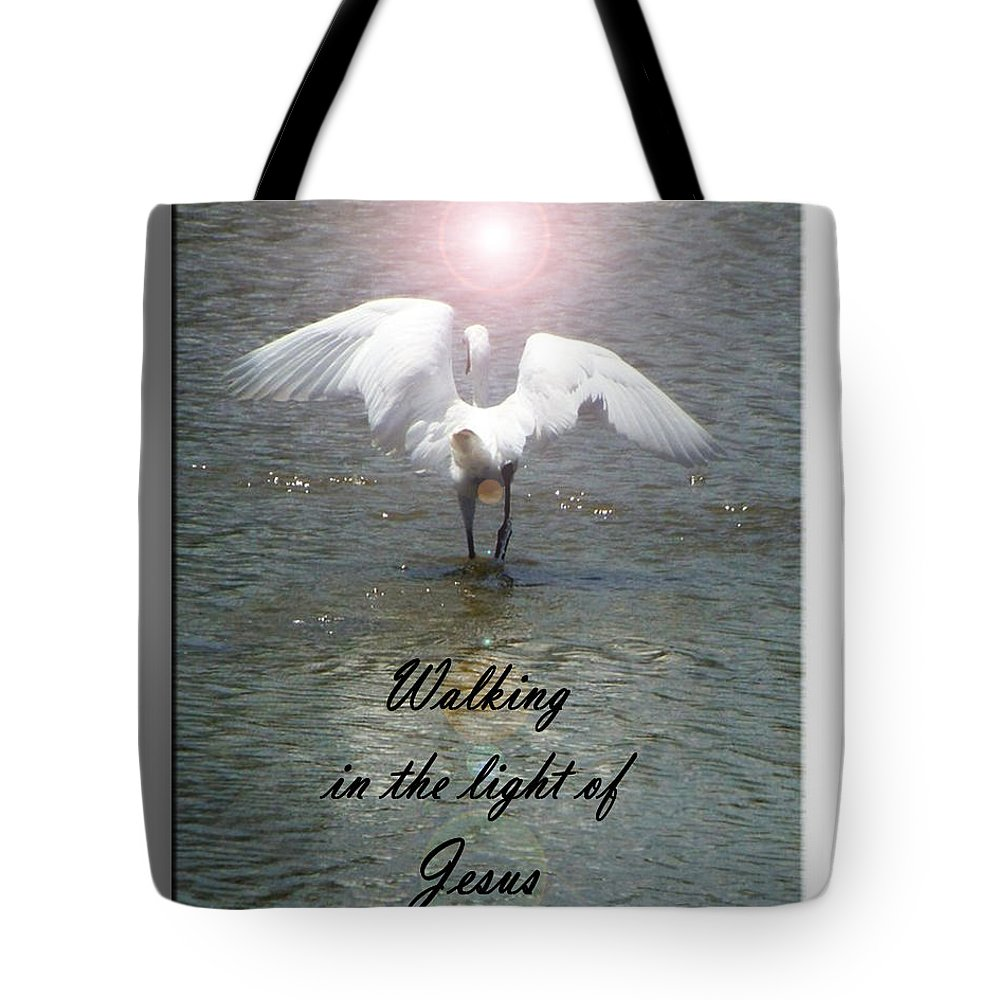 Marina Tote Bag featuring the photograph Walking In The Light Of Jesus by Leticia Latocki