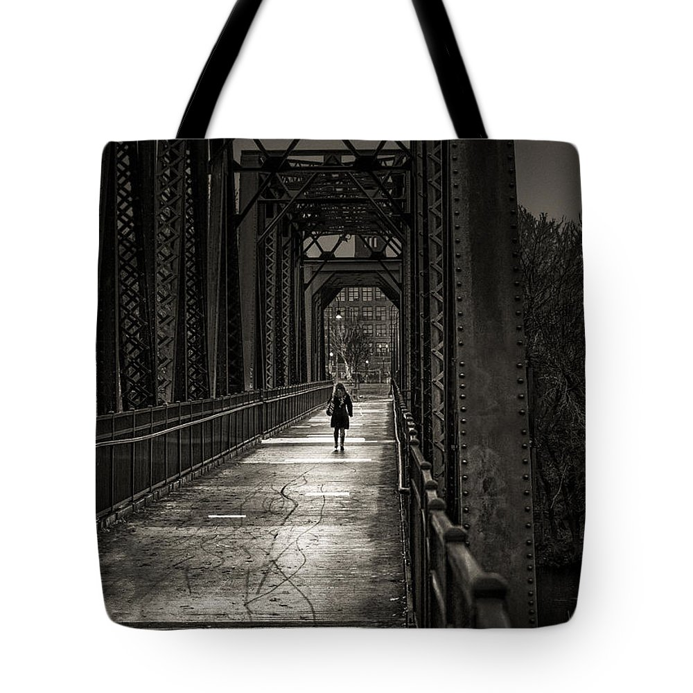 Woman Tote Bag featuring the photograph Walking In The Rain by Bob Orsillo