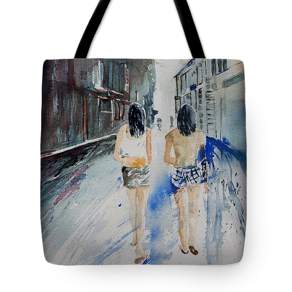 Girl Tote Bag featuring the painting Walking In The Street by Pol Ledent