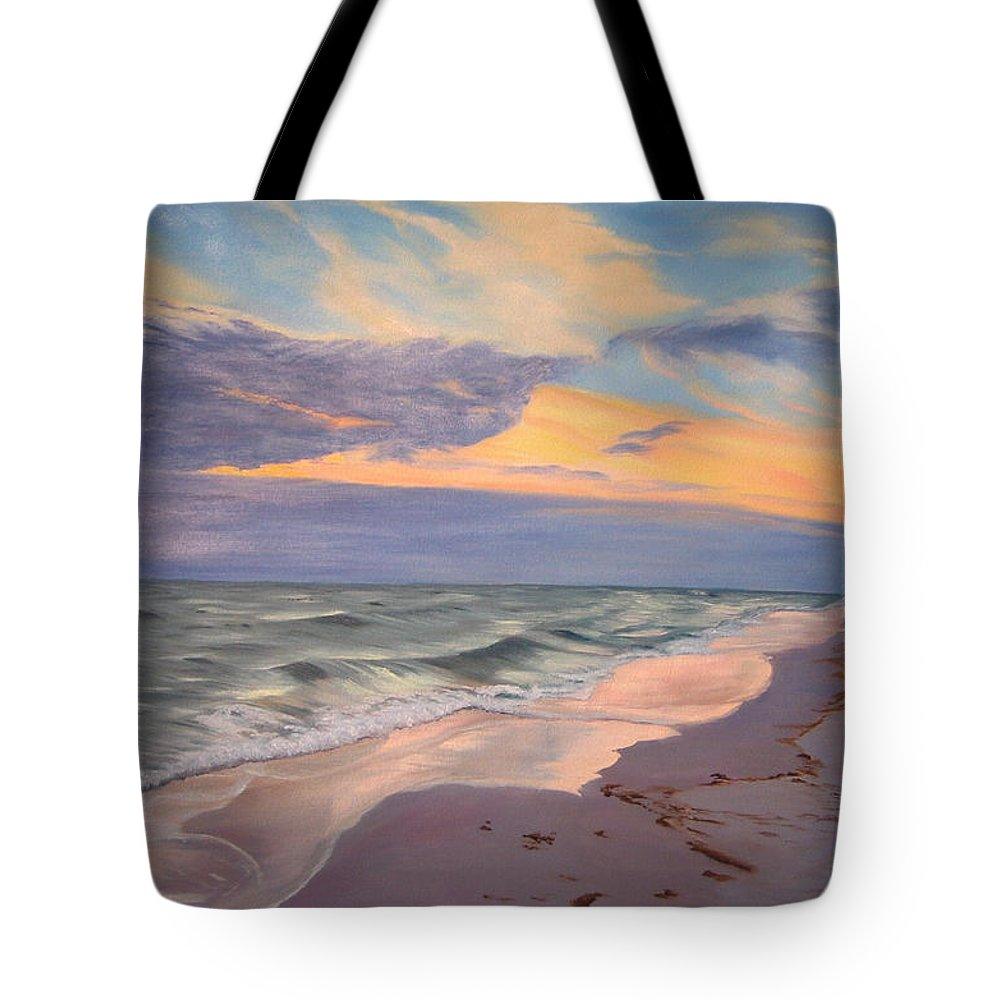 Seascape Tote Bag featuring the painting Walking On The Beach At Sunset by Lea Novak