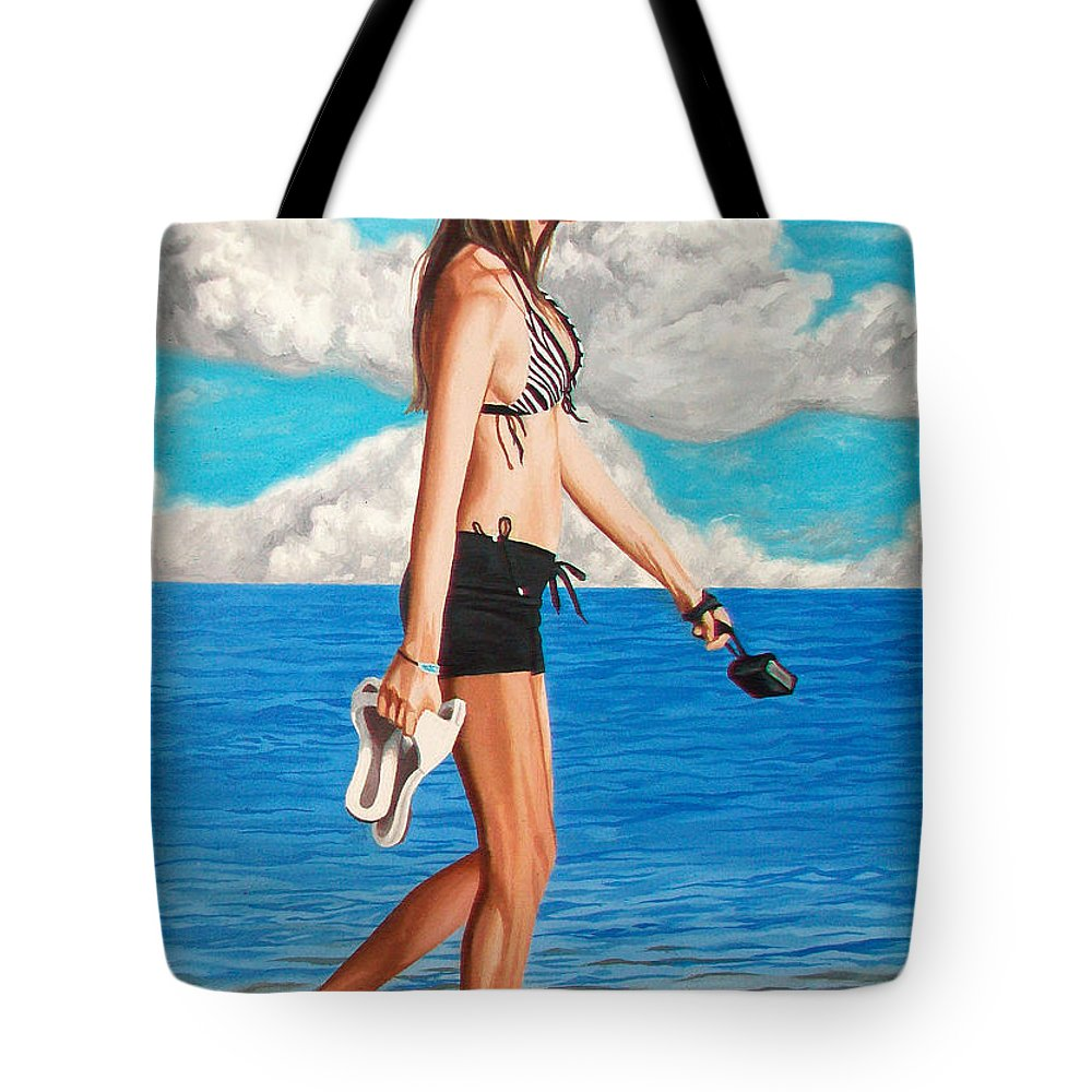 Beach Tote Bag featuring the painting Walking On The Beach - Caminando Por La Playa by Rezzan Erguvan-Onal