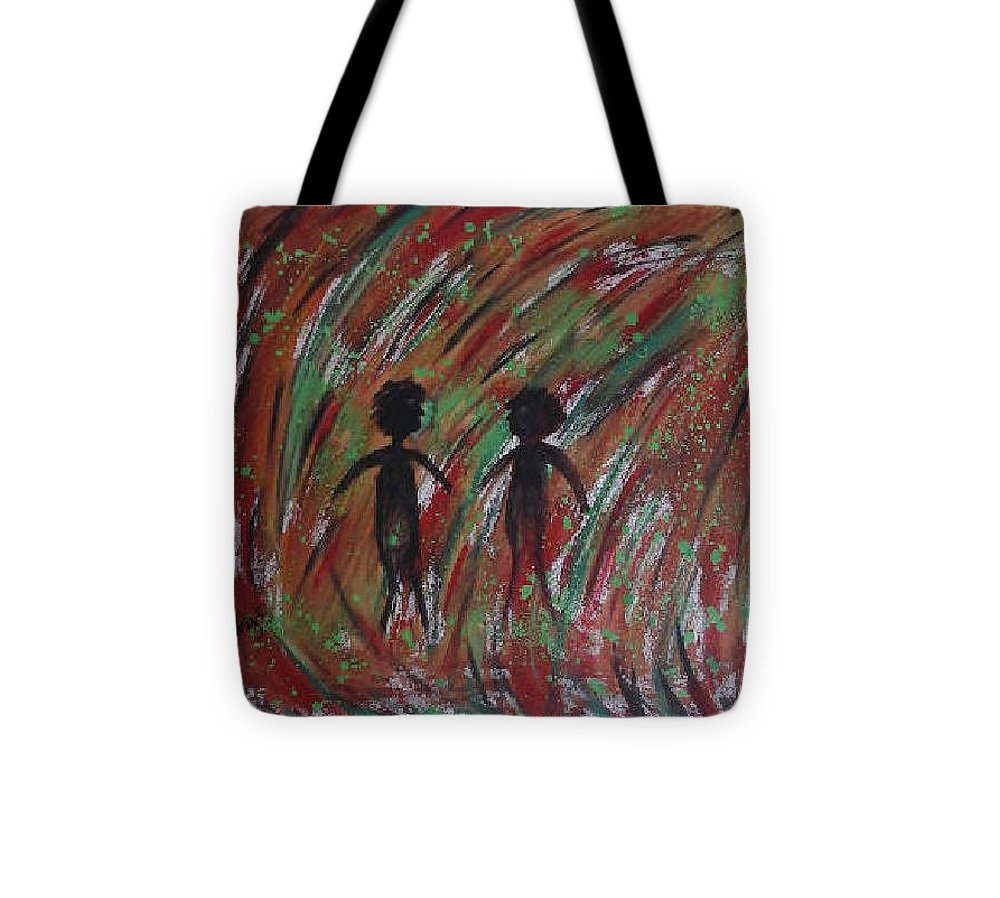 Allies Tote Bag featuring the painting Walking Out Of The Tunnel by Catherine Velardo