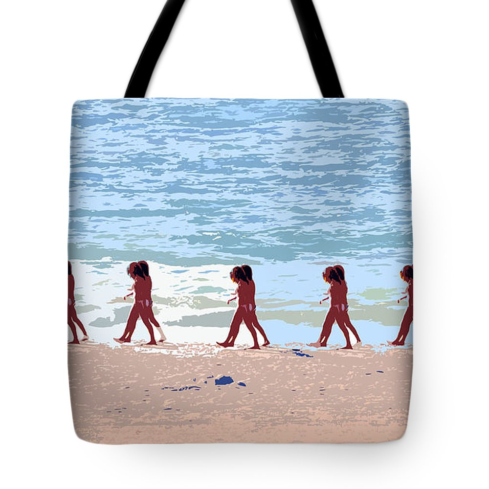 Pop Art Tote Bag featuring the painting Walking The Beach by David Lee Thompson