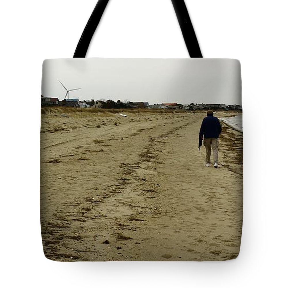 Walker Tote Bag featuring the photograph Walking The Beach by Robert McCulloch