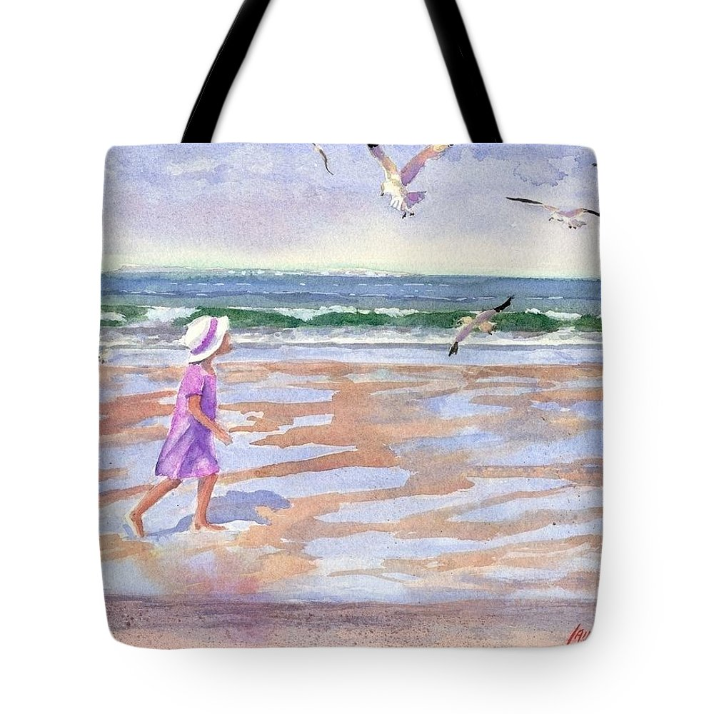 New England Tote Bag featuring the painting Walking The Cape by Laura Lee Zanghetti