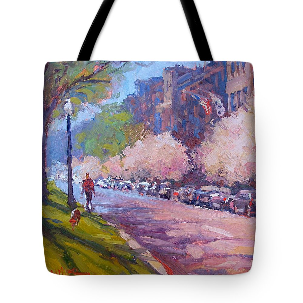 Walking The Dog Tote Bag featuring the painting Walking The Dog by Dianne Panarelli Miller