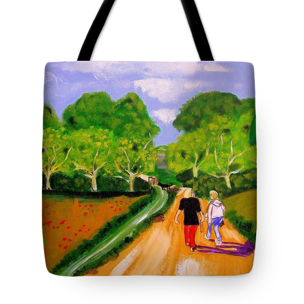 Landscape Tote Bag featuring the painting Walking The Dog by Rusty Gladdish