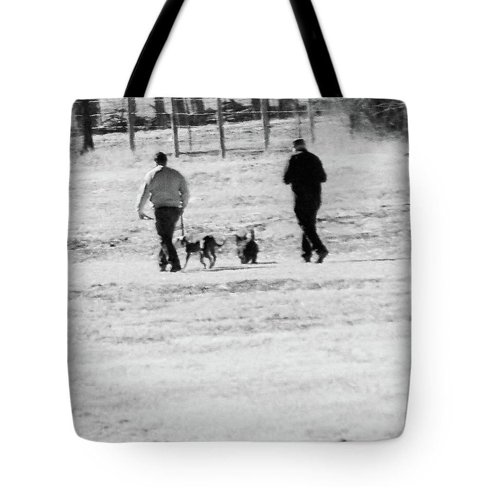 Abstract Tote Bag featuring the photograph Walking The Dogs by Lenore Senior