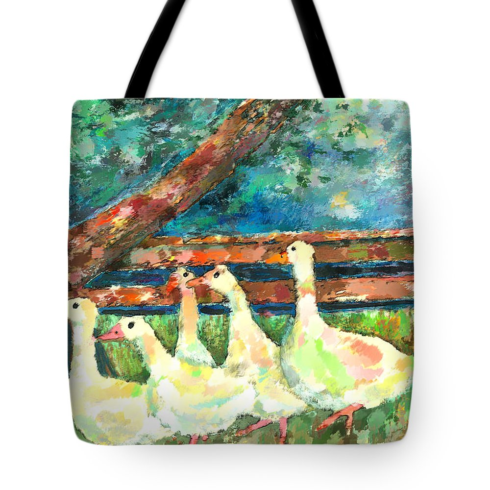 Ducks Tote Bag featuring the mixed media Walking Through The Grass by Arline Wagner