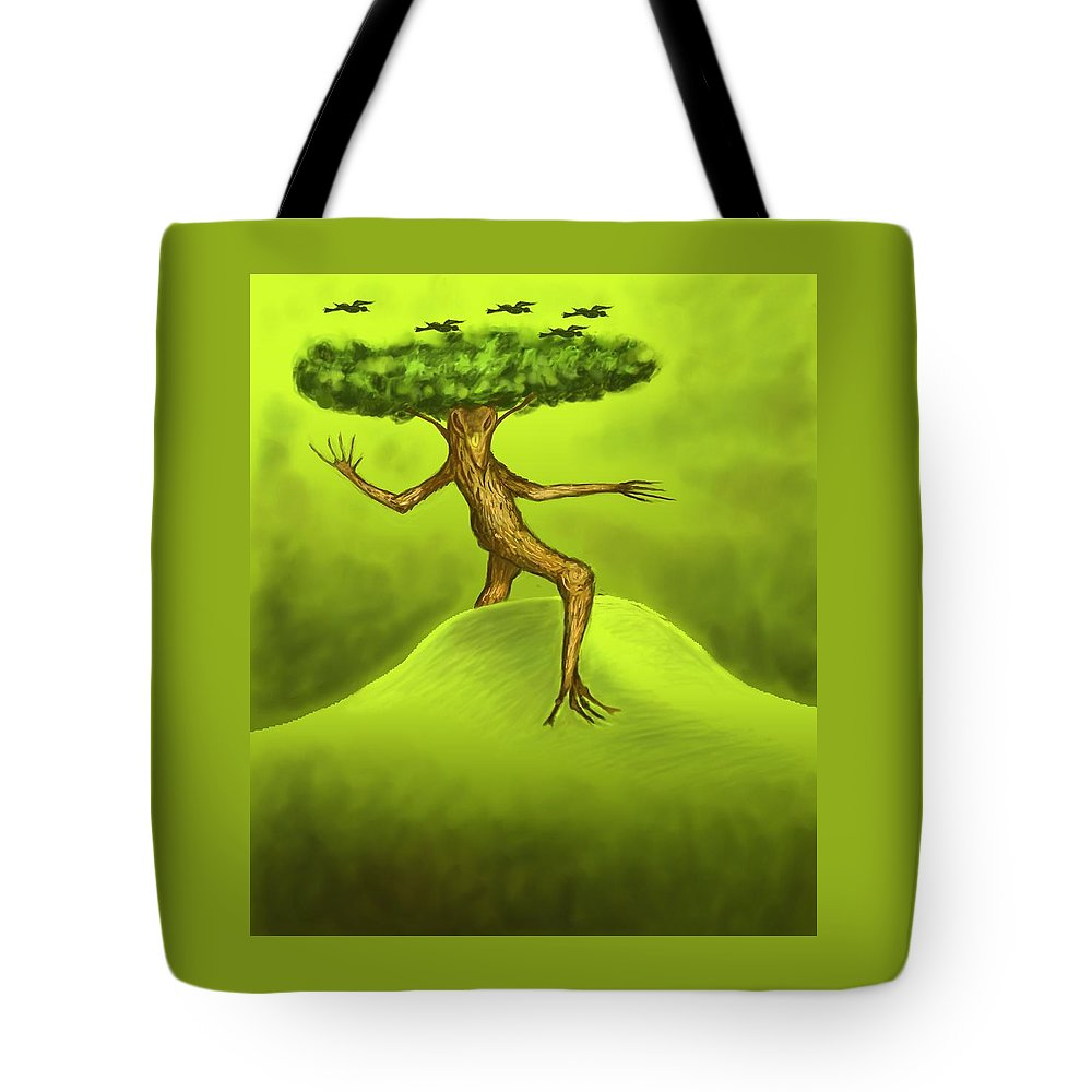 Fantasy Tote Bag featuring the digital art Walking Tree by David Michael Schmidt
