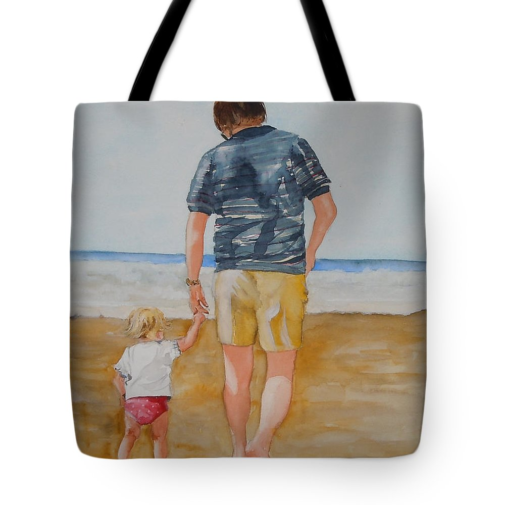 Beach Tote Bag featuring the painting Walking With Pops by Jean Blackmer