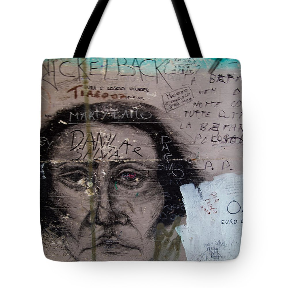 Cinque Terre Tote Bag featuring the photograph Wall Drawing by Roger Mullenhour