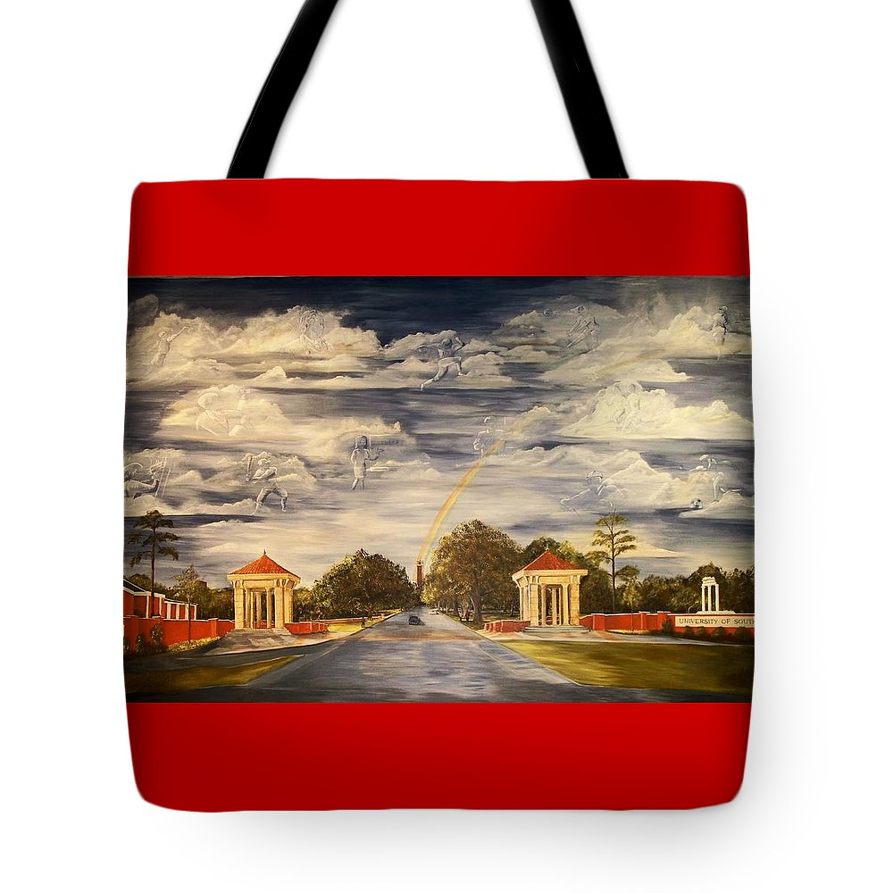 Mural University Of South Alabama Entrance School Dreams Clouds Rainbow Moulton Tower Clock Tower Tote Bag featuring the painting Wall Mural At Usa Where Dreams Come True by Lynda McDonald