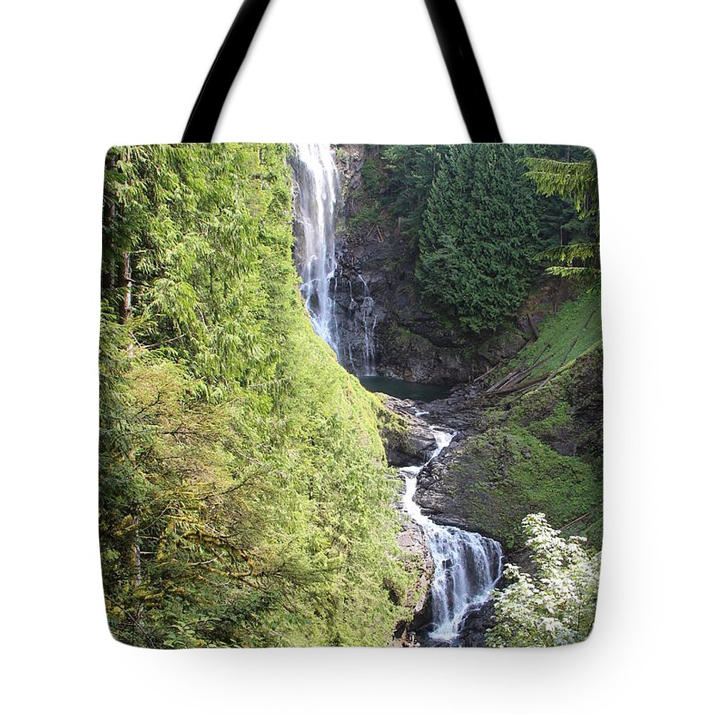Waterfall Tote Bag featuring the photograph Wallace Falls by Roger Ulm
