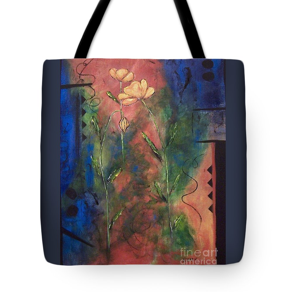 Flowers Tote Bag featuring the painting Wallflowers I  by Karen Day-Vath