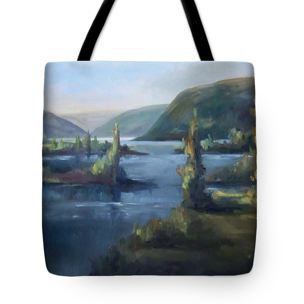 Landscape Water Mountains Trees Fall Sky Tote Bag featuring the painting Wallula Gap October by Ruth Stromswold