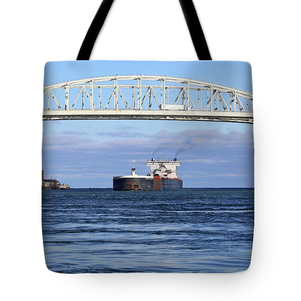 Walter J. Mccarthy Jr. Tote Bag featuring the photograph Walter J. Mccarthy And Blue Water Bridge 112917 by Mary Bedy