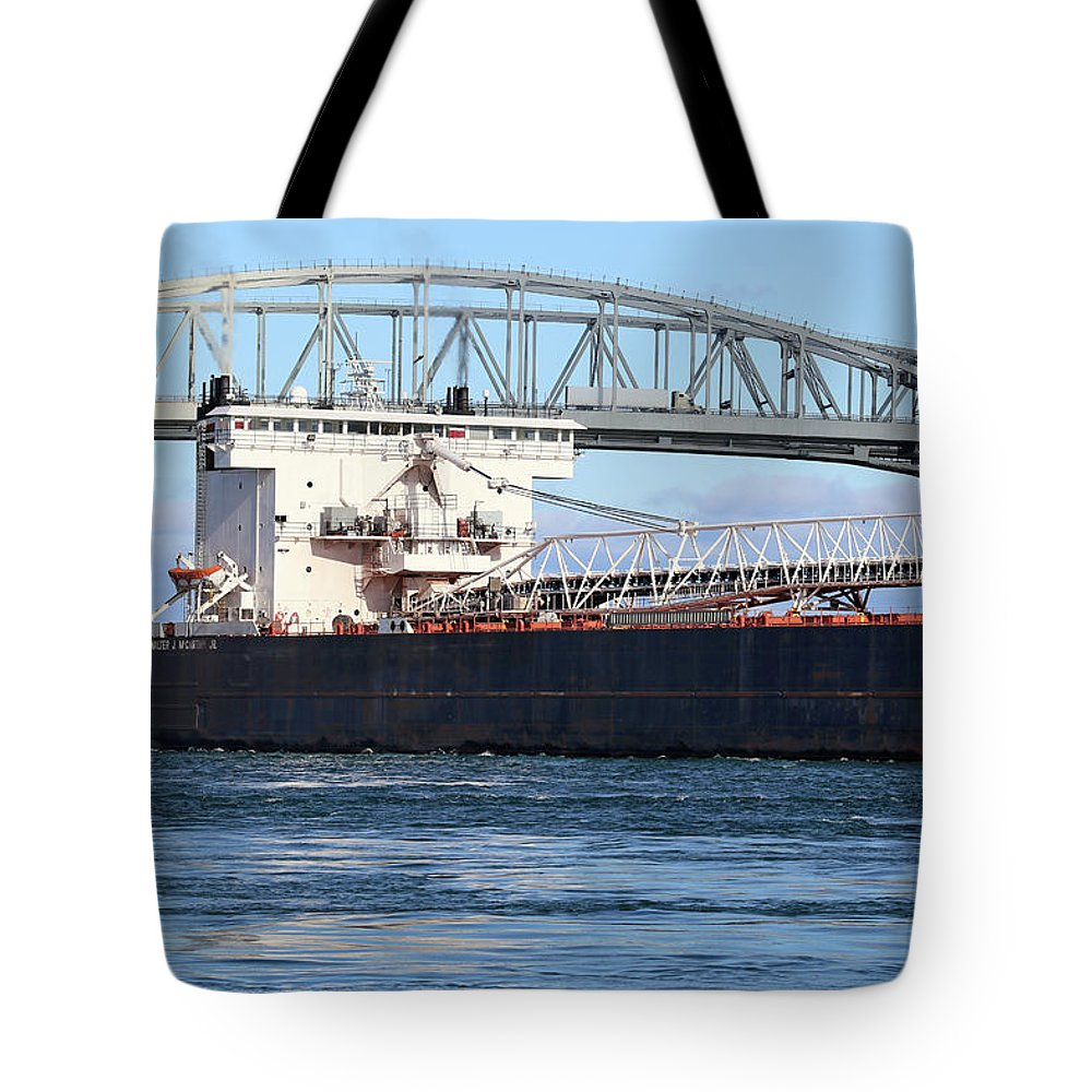 Walter J. Mccarthy Jr. Tote Bag featuring the photograph Walter J. Mccarthy Jr. And Blue Water Bridge 2 112917 by Mary Bedy