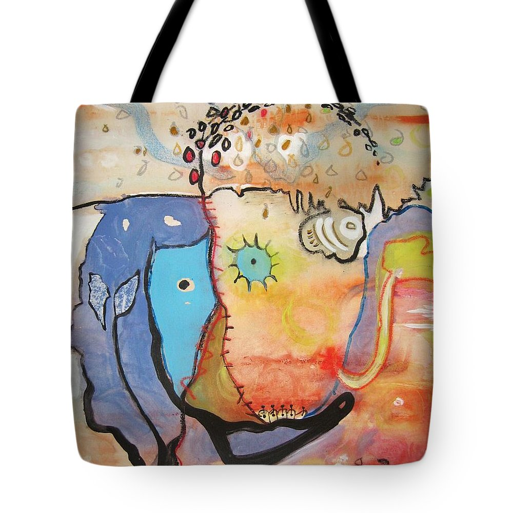 Abstract Paintings Tote Bag featuring the painting Wandering In Thought by Seon-Jeong Kim