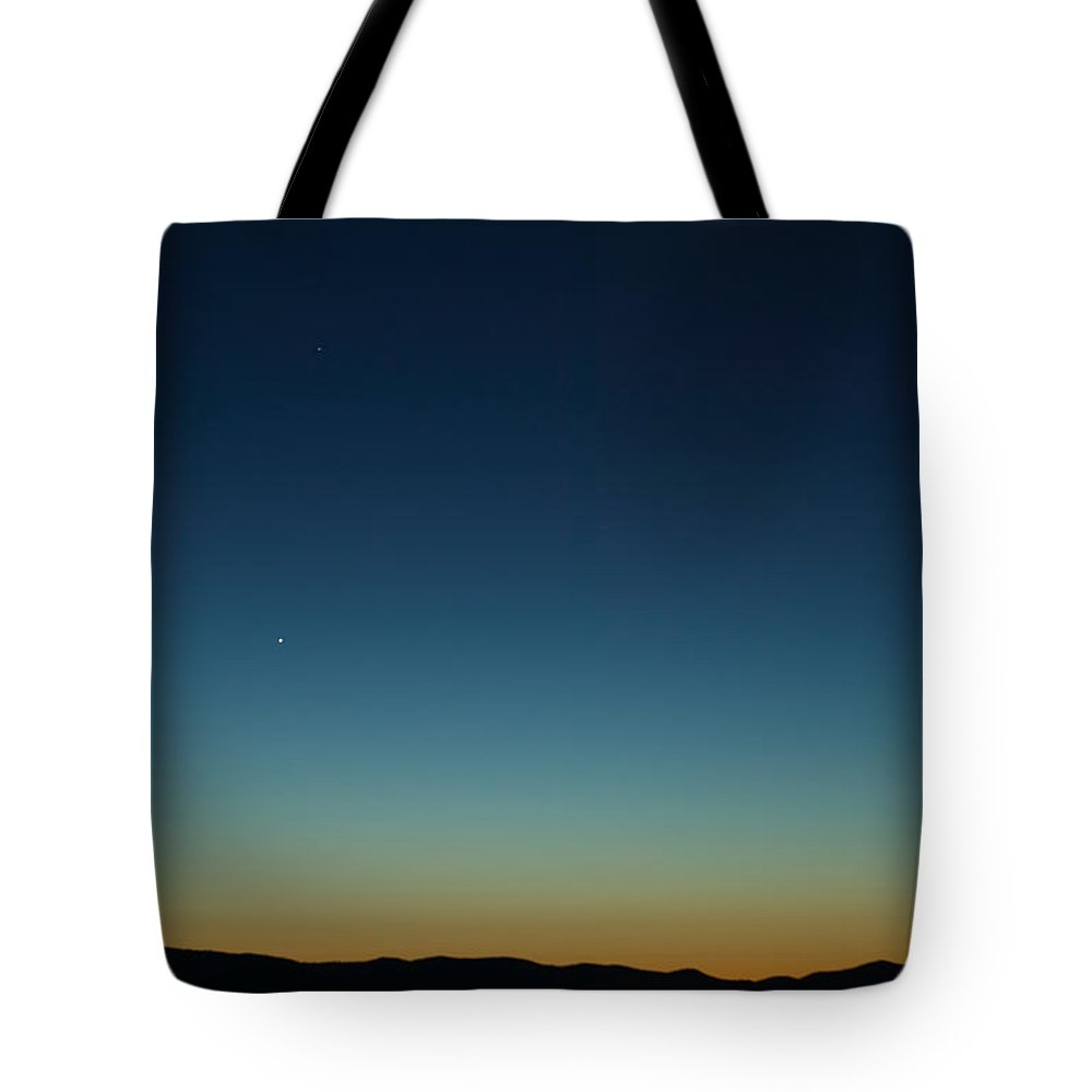 Clarence Holmes Tote Bag featuring the photograph Waning Moon And Mercury Rising by Clarence Holmes