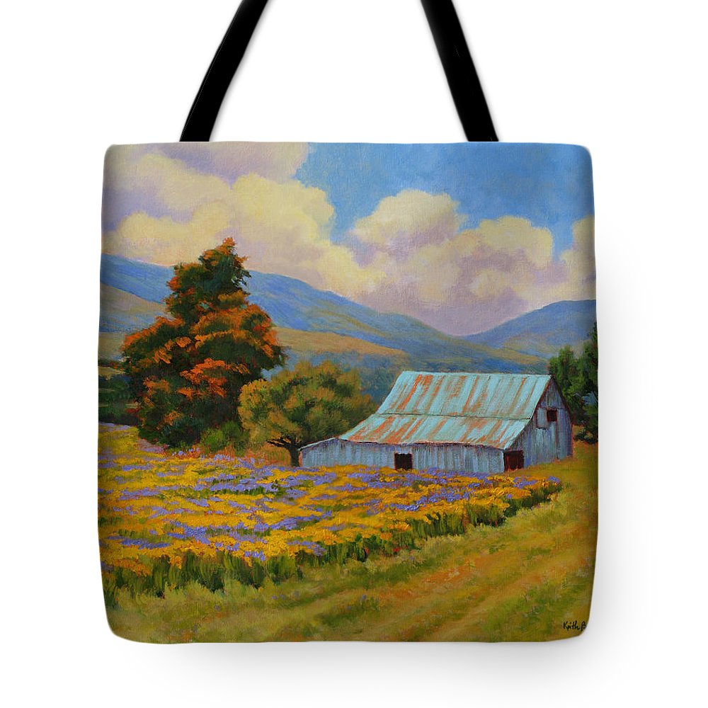 Landscape Tote Bag featuring the painting Waning Summer by Keith Burgess