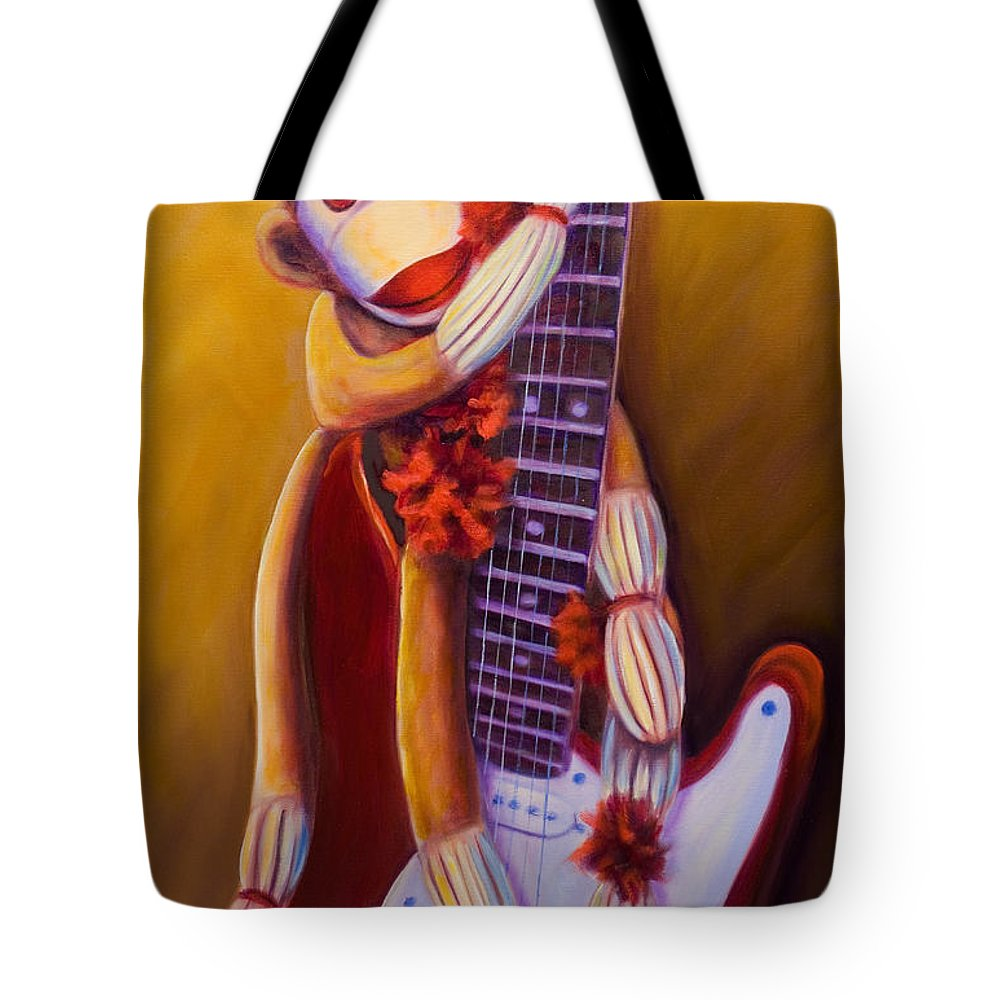 Monkey Tote Bag featuring the painting Wanna Be A Rocker by Shannon Grissom