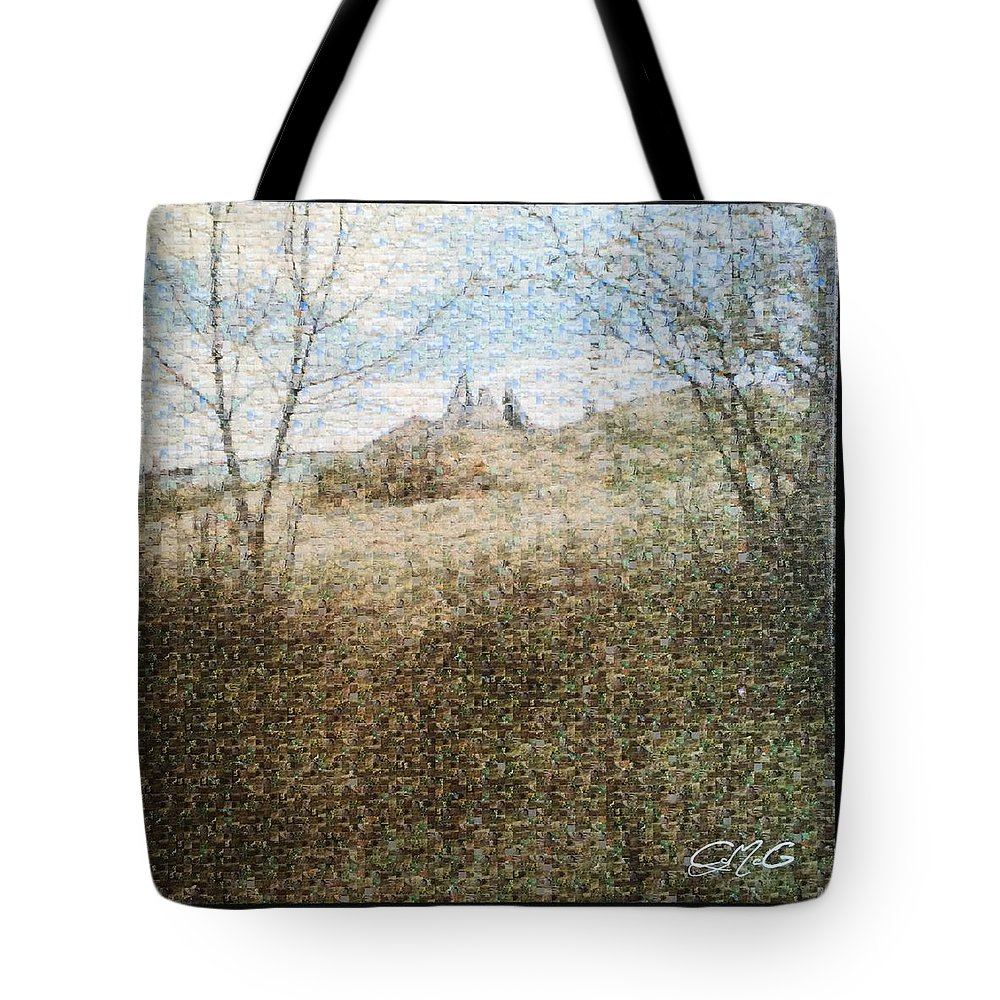 Wanuskewin Heritage Park Tote Bag featuring the digital art Wanuskewin Heritage Park Mosaic by Corla McGillivray
