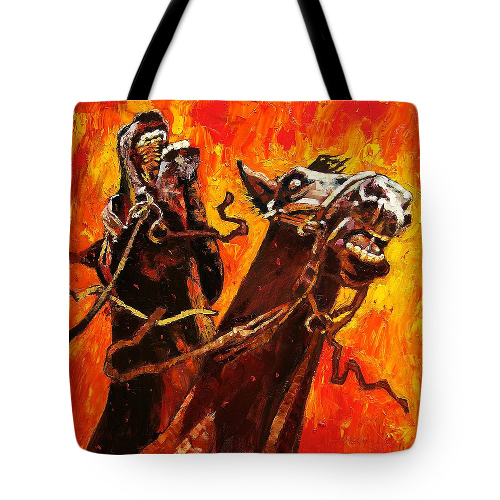 Horses Tote Bag featuring the painting War Horses by John Lautermilch