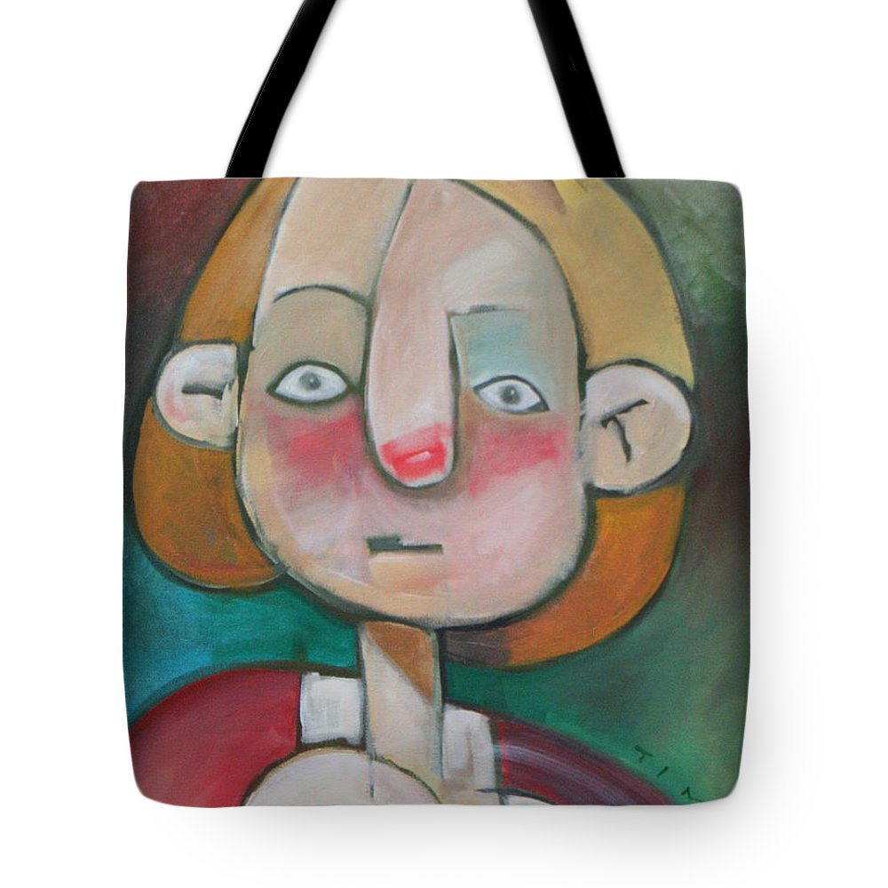 Woman Tote Bag featuring the painting Wardrobe Malfunction by Tim Nyberg