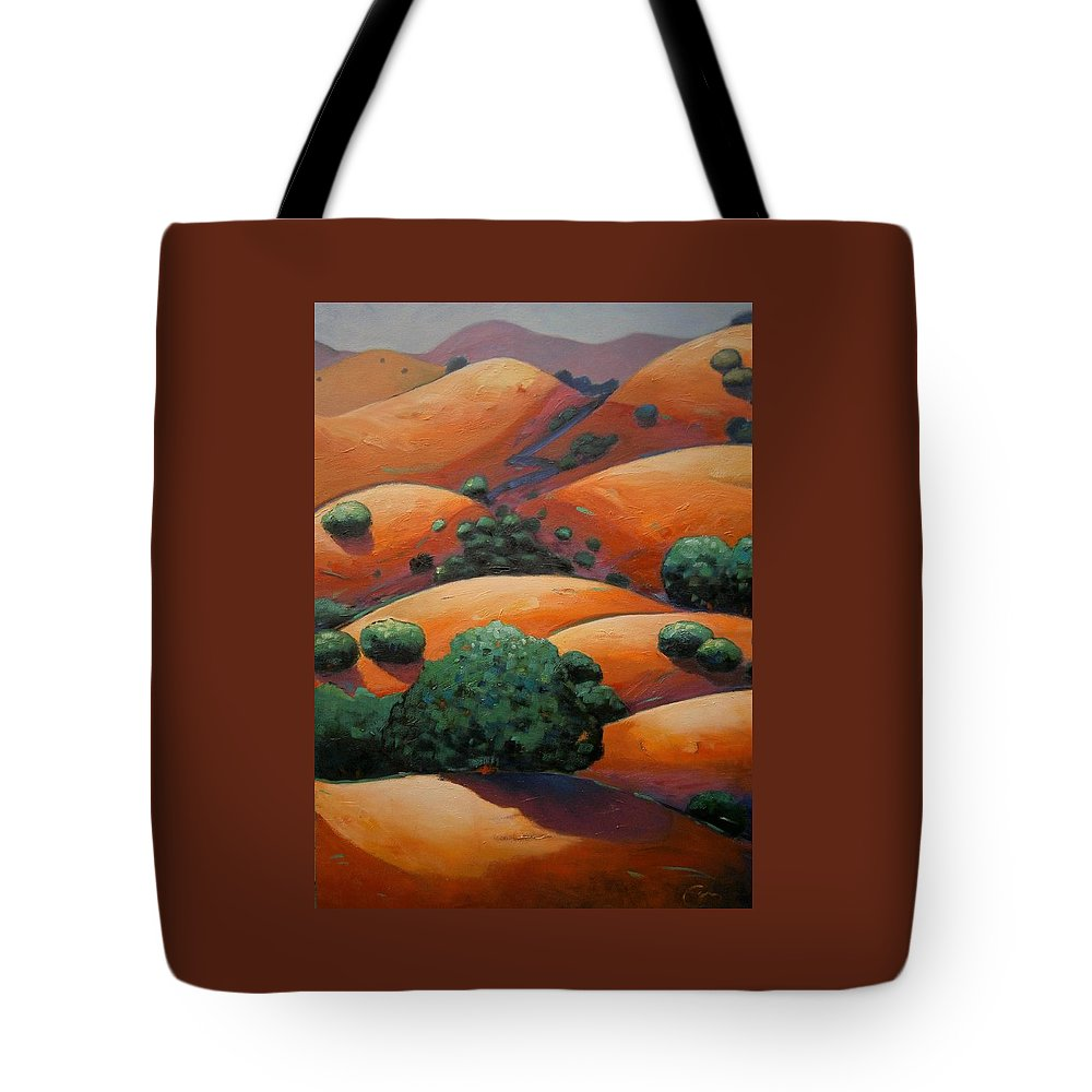California Landscape Tote Bag featuring the painting Warm Afternoon Light On Ca Hillside by Gary Coleman