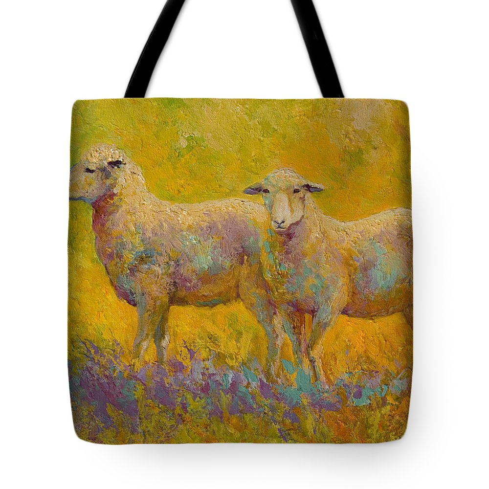 Llama Tote Bag featuring the painting Warm Glow - Sheep Pair by Marion Rose