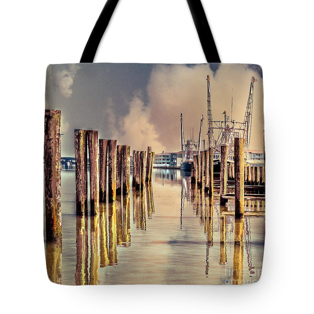 Pier Tote Bag featuring the photograph Warm Reflections In The Marina by Tom Gari Gallery-Three-Photography
