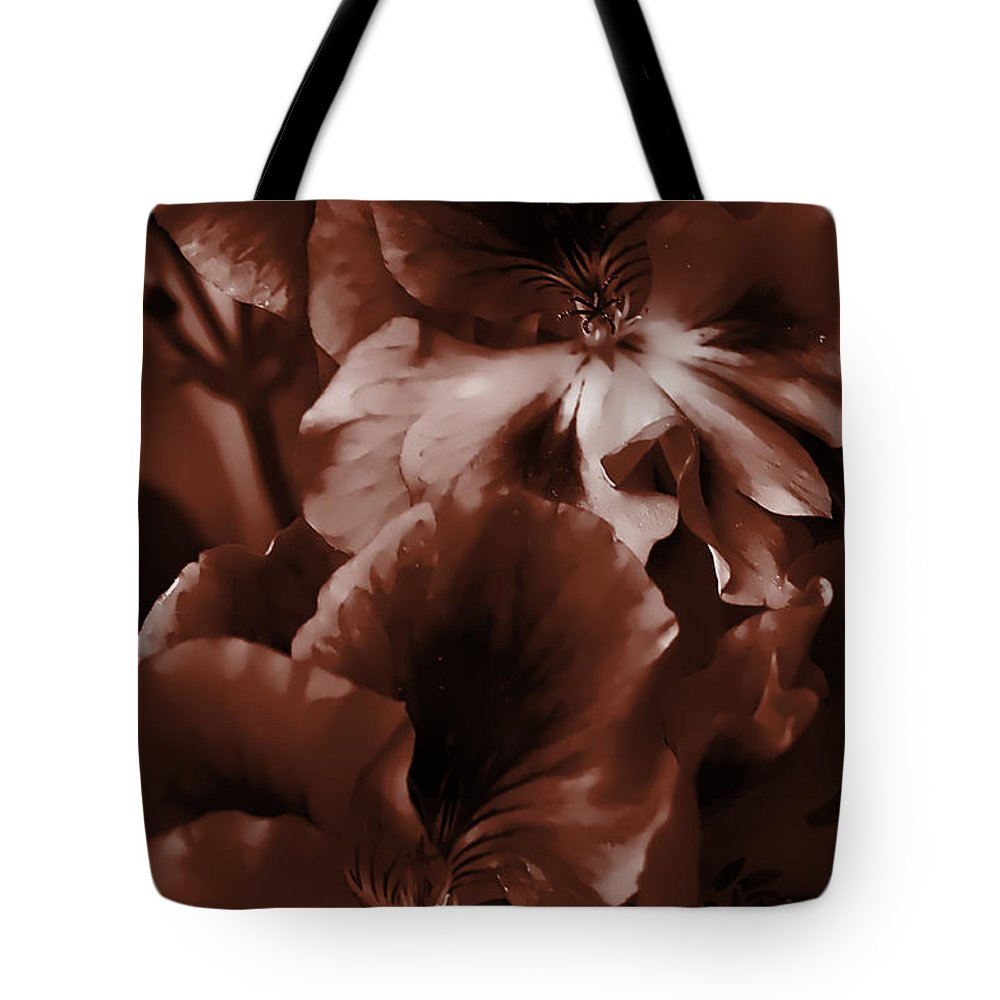 Clay Tote Bag featuring the photograph Warm Tone Monochrome Floral Art by Clayton Bruster