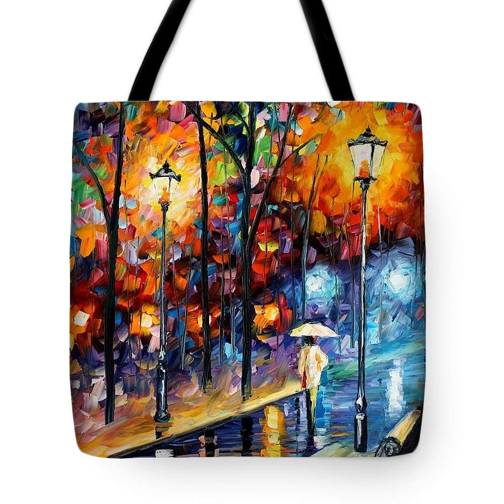 Afremov Tote Bag featuring the painting Warm Winter by Leonid Afremov
