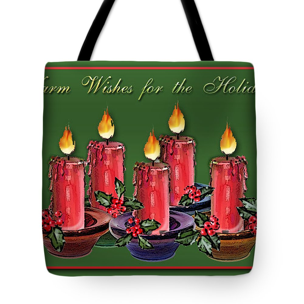 Candle Tote Bag featuring the digital art Warm Wishes by Arline Wagner