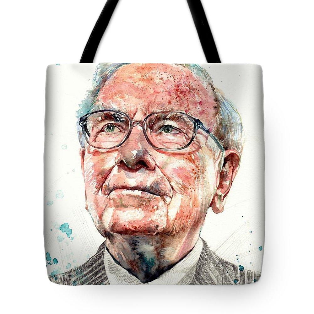 Warren Tote Bag featuring the painting Warren Buffett Portrait by Suzann Sines