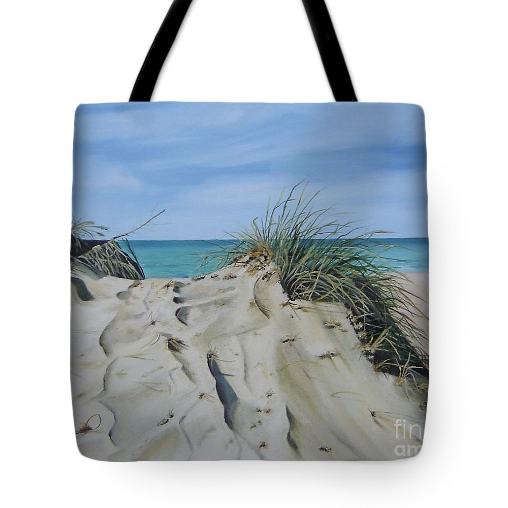 Lake Tote Bag featuring the painting Warren Dunes by Mary Rogers