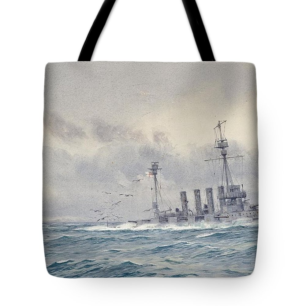 Alma Claude Burlton Cull (1880-1931) The Sinking Of H.m.s. Warrior After The Battle Of Jutland Tote Bag featuring the painting Warrior After The Battle Of Jutland by MotionAge Designs