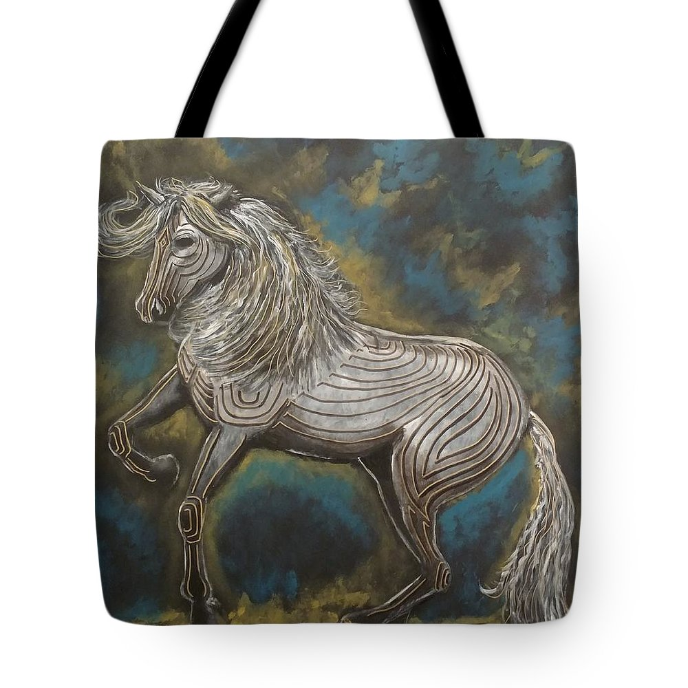 White Horse With Gold And Black Tattoo Images Tote Bag featuring the painting Warrior by Kevin F Bell