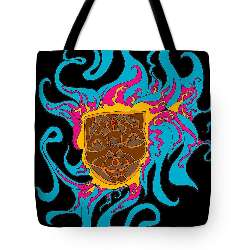 Warrior Face Tote Bag featuring the digital art Warrior Mom by Richard Troche