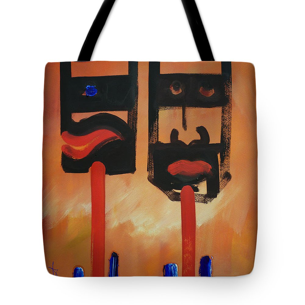 Warrior Tote Bag featuring the painting Warriors by Charles Stuart