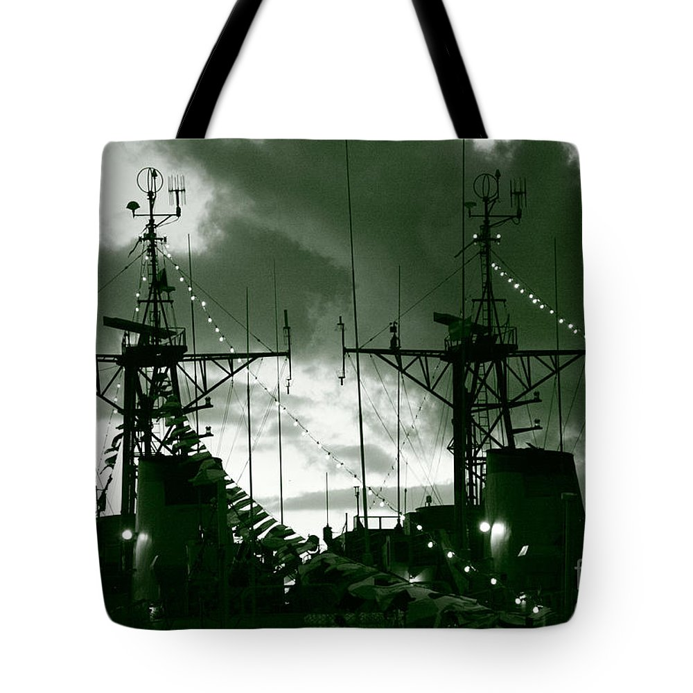 Antenna Tote Bag featuring the photograph Warships At Twilight by Gaspar Avila