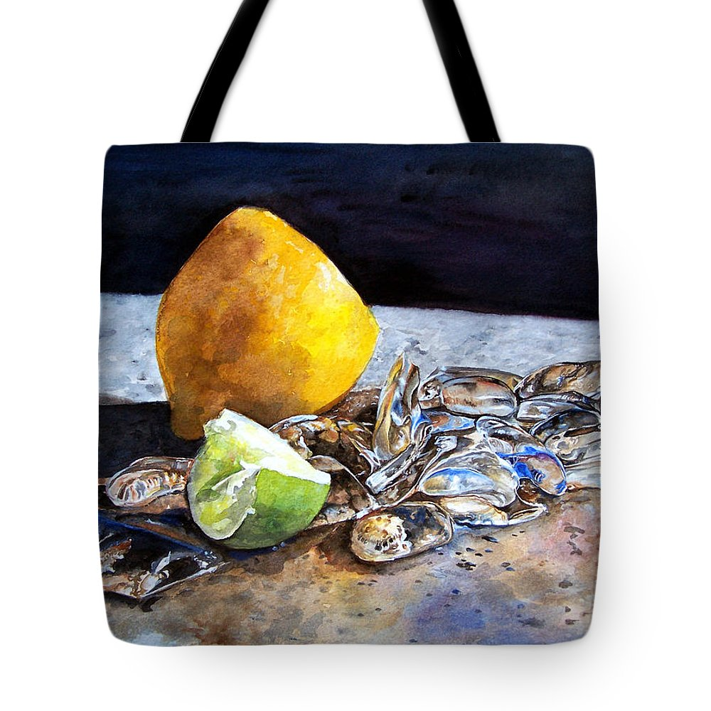Lemon Tote Bag featuring the painting Was... by Leyla Munteanu
