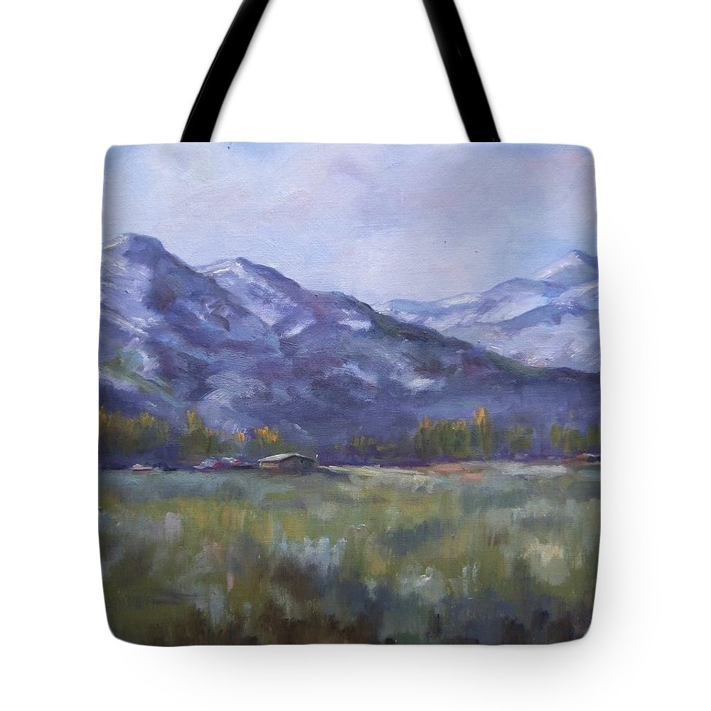 Mountains Tote Bag featuring the painting Wasacth View by Ruth Stromswold
