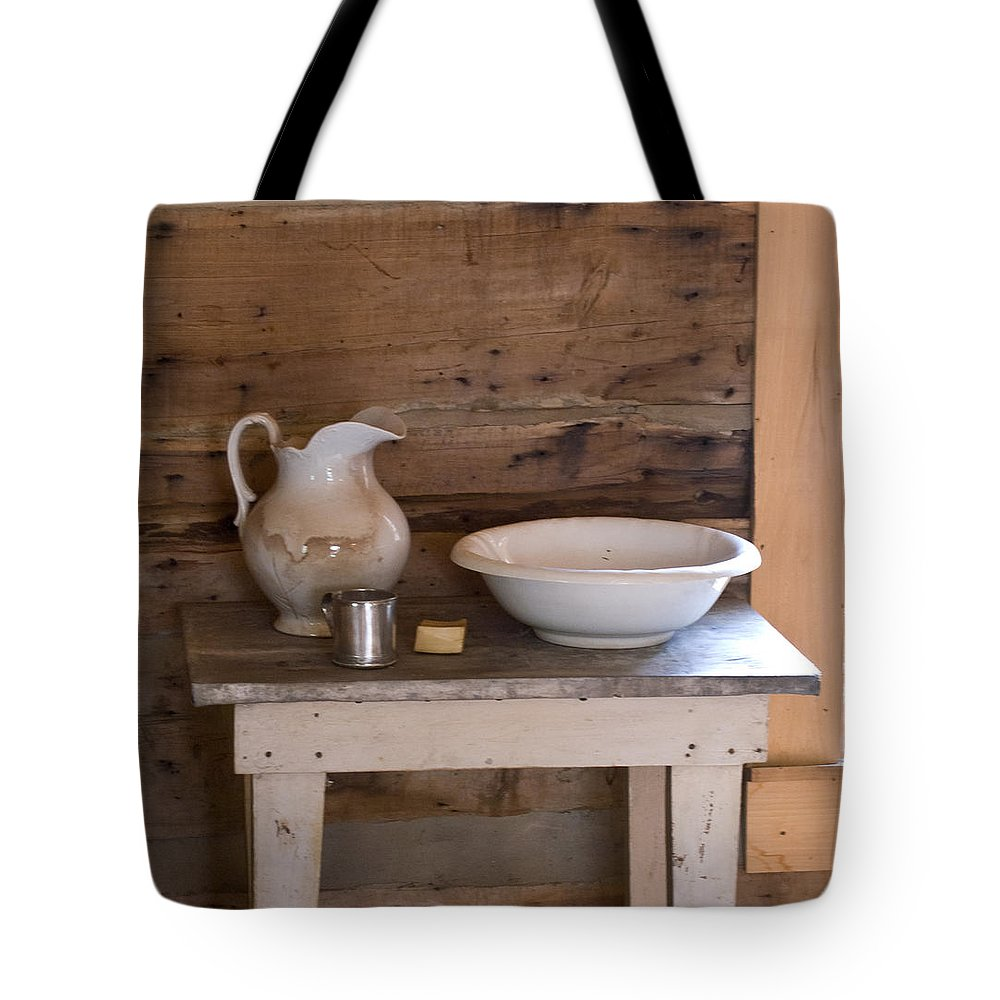 Wash Tote Bag featuring the photograph Wash Bowl Pitcher And Cup by Douglas Barnett