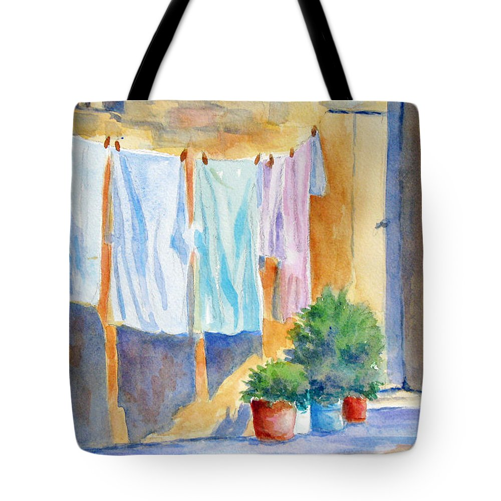 Wash Tote Bag featuring the painting Wash Day In Marsaxlokk by Marsha Elliott