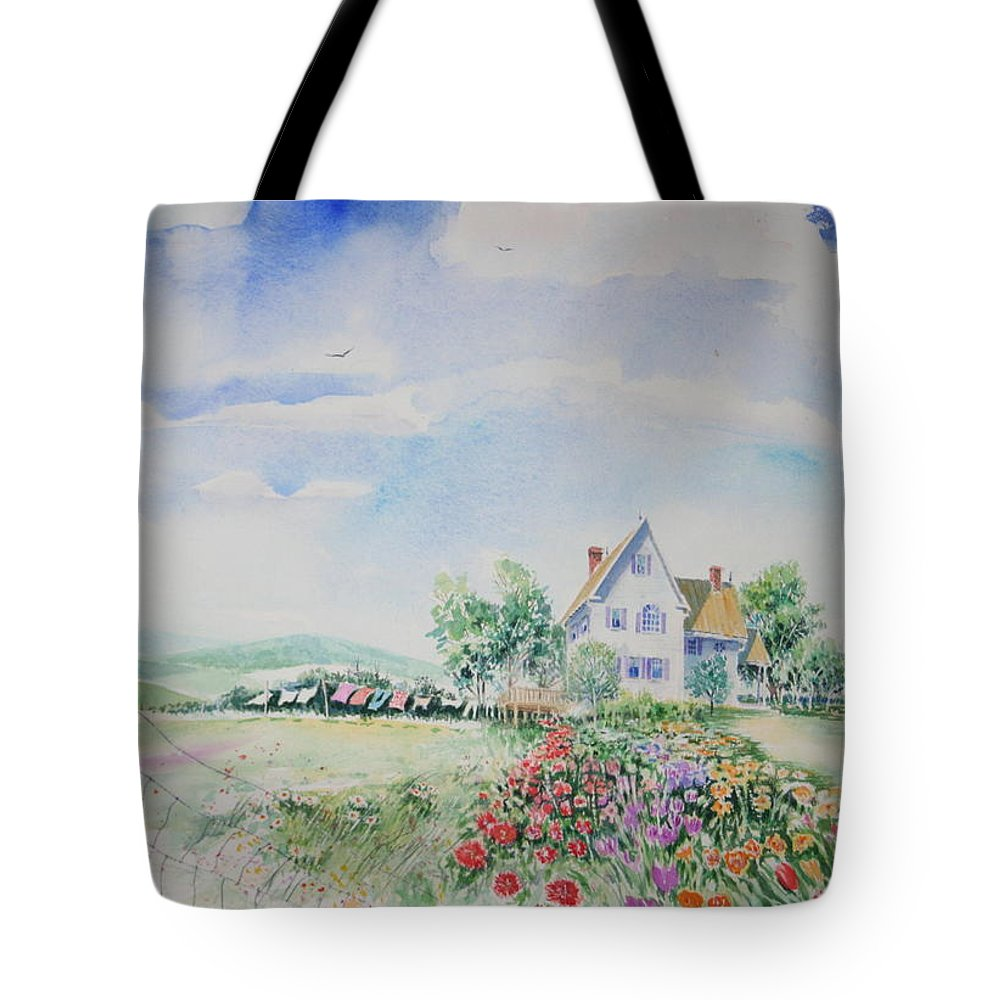 Landscape Tote Bag featuring the painting Wash Day In The Blue Ridge by Tom Harris