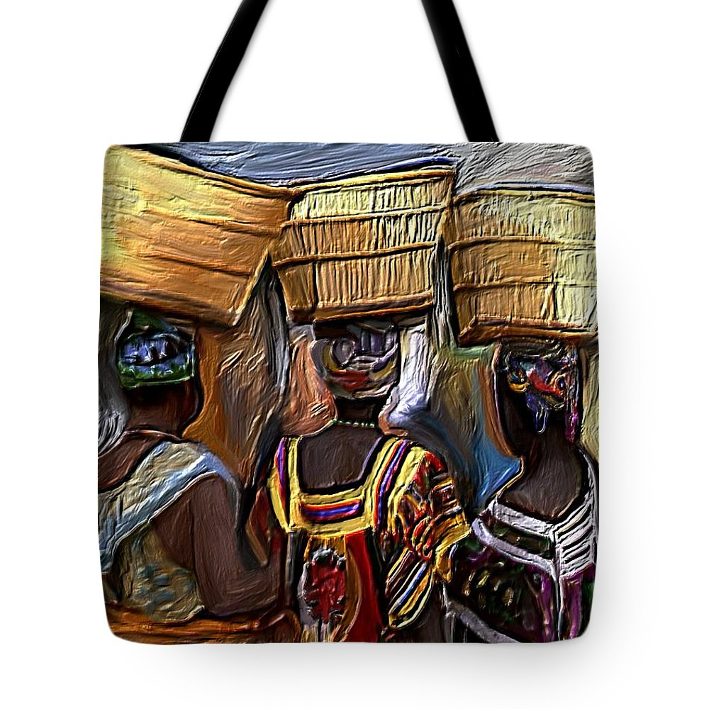 Woman Tote Bag featuring the painting Wash Day by Laura Fatta