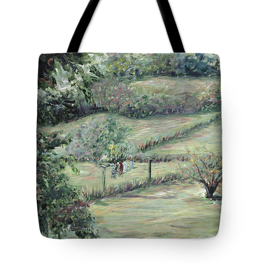 Landscape Tote Bag featuring the painting Washday In Provence by Nadine Rippelmeyer
